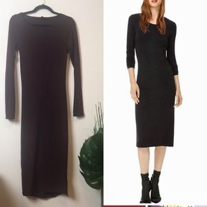 Wilfred free bodycon long sleeve dress m burgundy